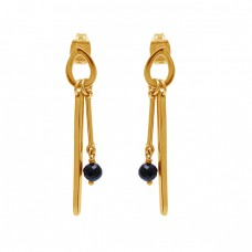 Black Onyx Gemstone 925 Sterling Silver Gold Plated Stud Dangle Earrings