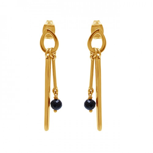 Black Onyx Gemstone 925 Sterling Silver Gold Plated Stud Dangle Earrings