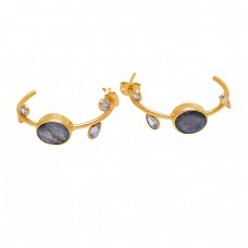 Labradorite Crystal Gemstone 925 Sterling Silver Gold Plated Earrings