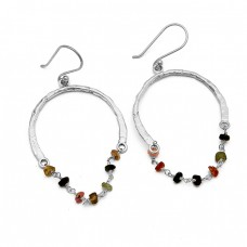 Roundel Beads Shape Tourmaline Gemstone 925 Sterling Silver Gold Plated Dagling Earrings