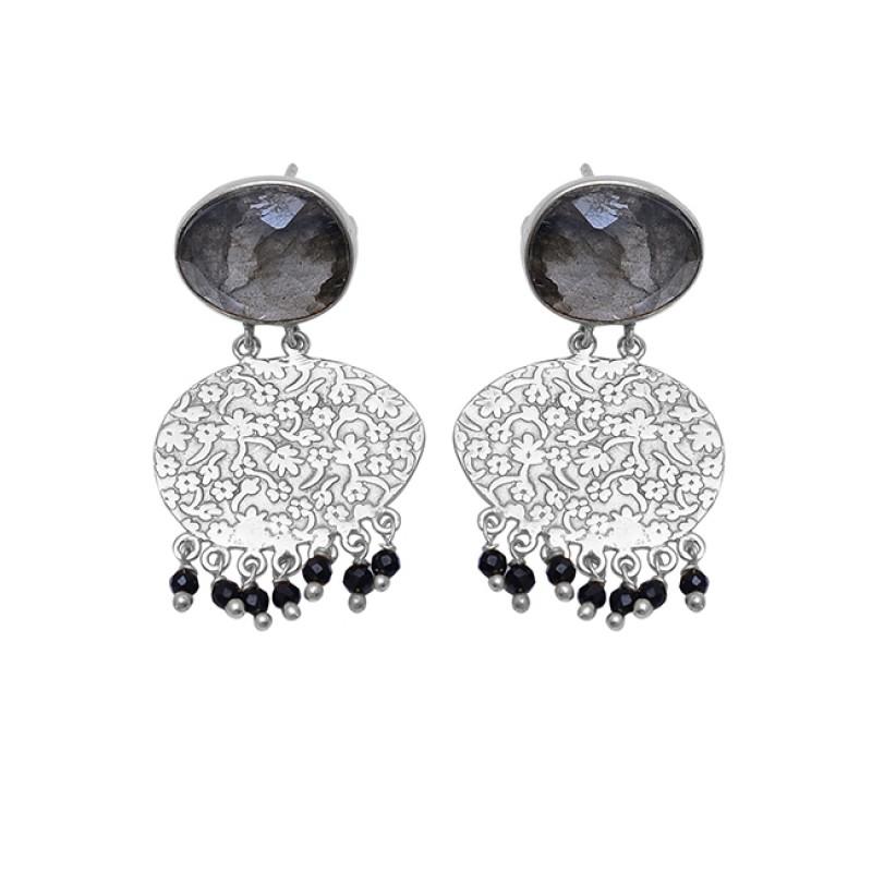 Labradorite Black Onyx Gemstone 925 Sterling Silver Gold Plated Earrings