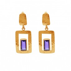 Rectangle Shape Amethyst Gemstone 925 Silver Gold Plated Earrings