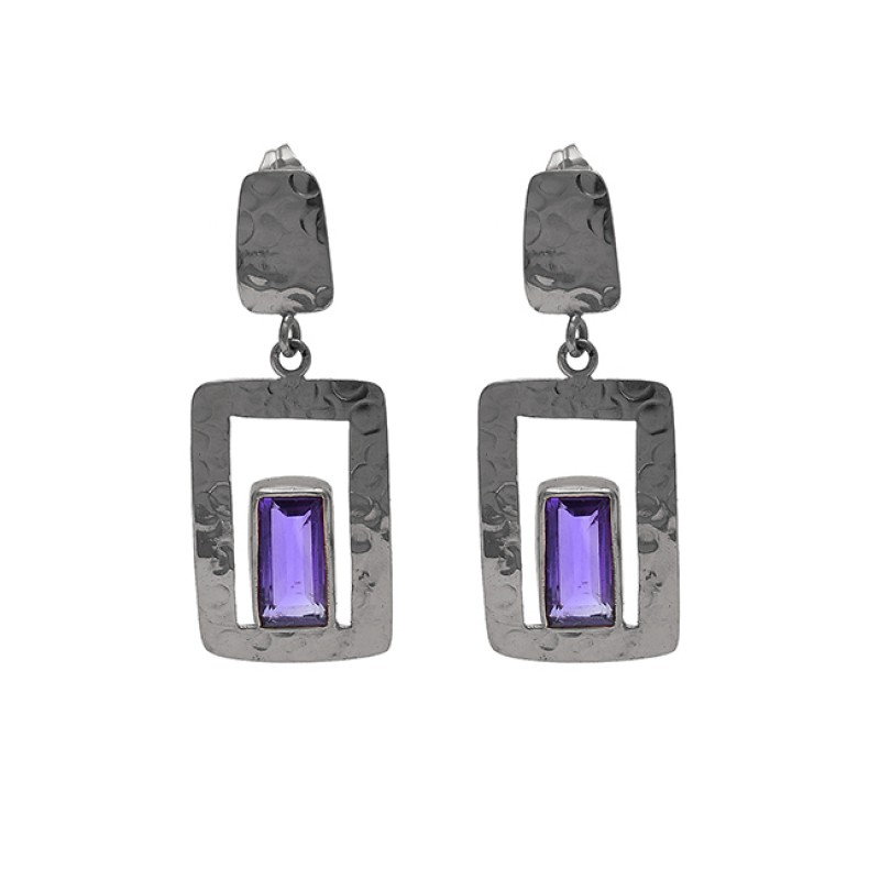 Rectangle Shape Amethyst Gemstone 925 Silver Gold Plated Earrings