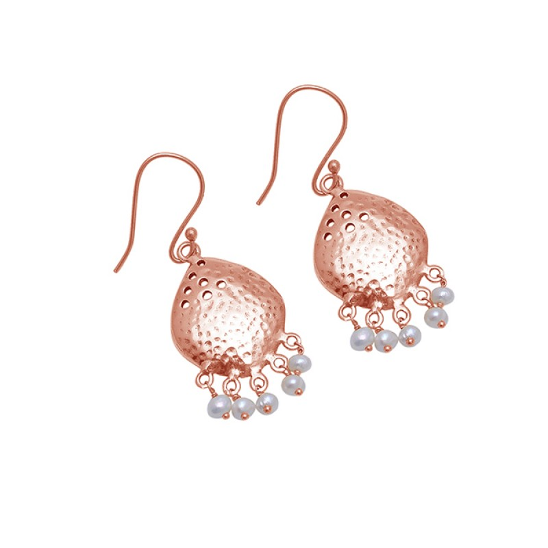 Roundel Beads Shape Pearl Gemstone 925 Sterling Silver Gold Plated Earrings