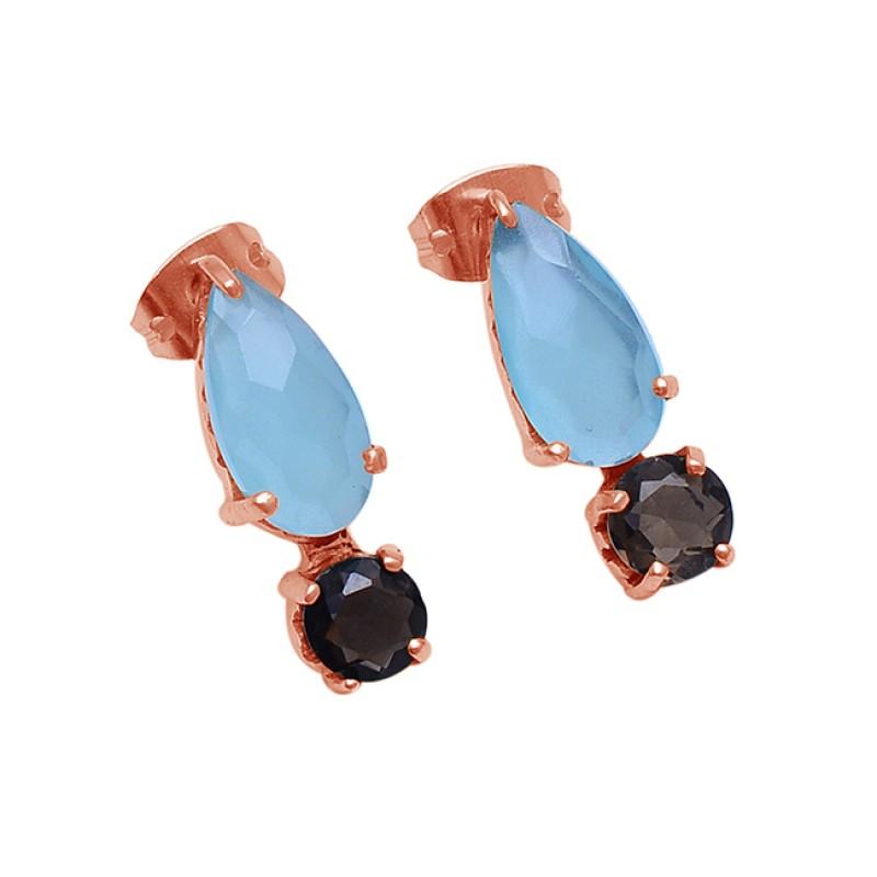 Aqua Chalcedony Smoky Quartz Gemstone 925 Silver Gold Plated Stud Earrings