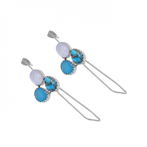 Turquoise Chalcedony Moonstone 925 Silver Gold Plated Hoop Earrings