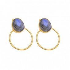 Oval Shape Labradorite Gemstone 925 Sterling Silver Gold Plated Stud Earrings