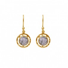 Round Shape Black Rutile Quartz Gemstone 925 Silver Gold Plating Earrings