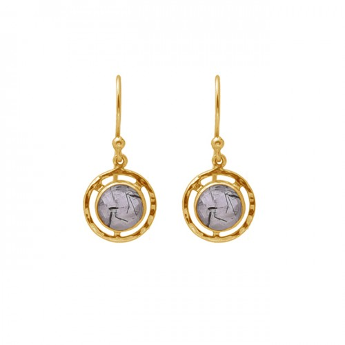 Round Shape Black Rutile Quartz Gemstone 925 Silver Gold Plating Earrings