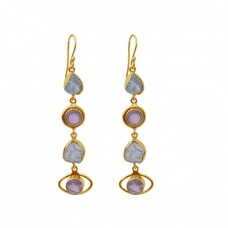 Blue Topaz Rose Quartz Gemstone 925 Sterling Silver Gold Plated Dangle Earrings