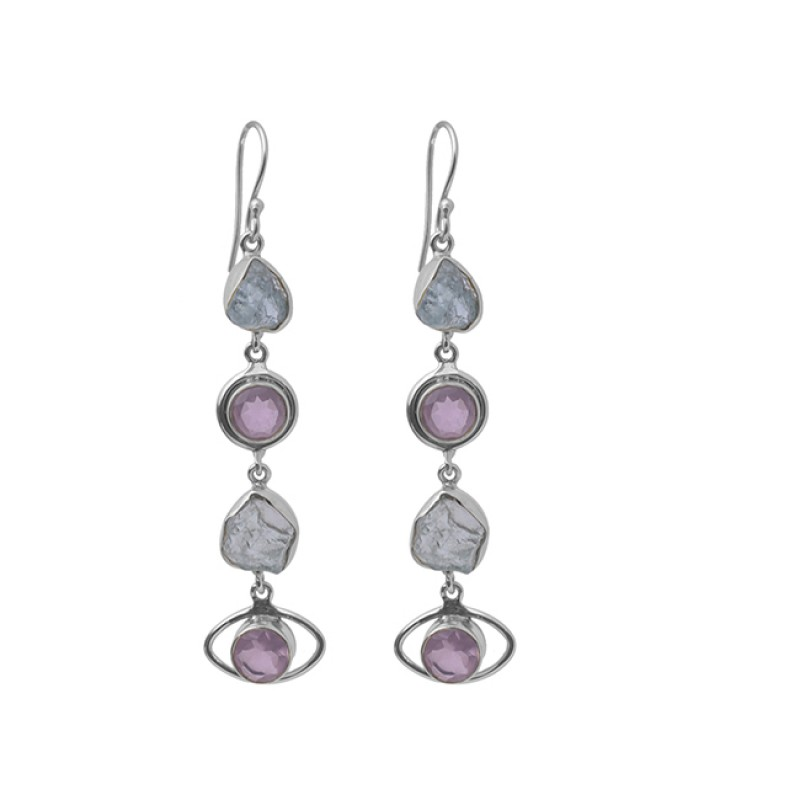 Blue Topaz Rose Quartz Gemstone 925 Sterling Silver Gold Plated Dangle Earrings