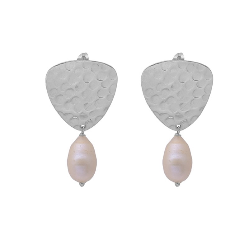 Tumble Shape Pearl Gemstone 925 Sterling Silver Gold Plated Dangle Earrings