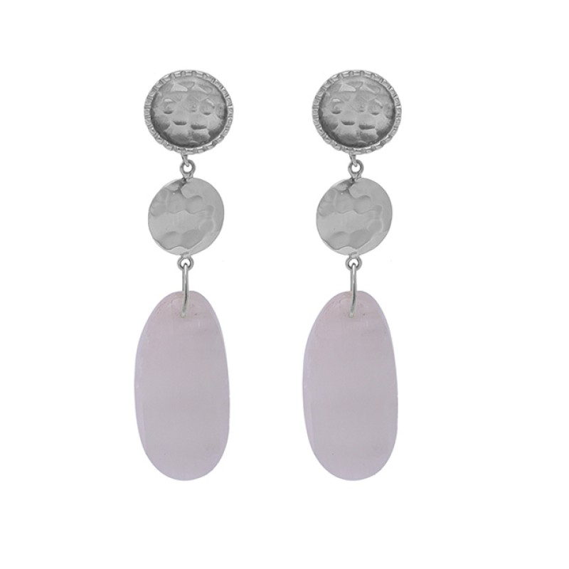 Oval Shape Rainbow Moonstone 925 Sterling Silver Gold Plated Earrings