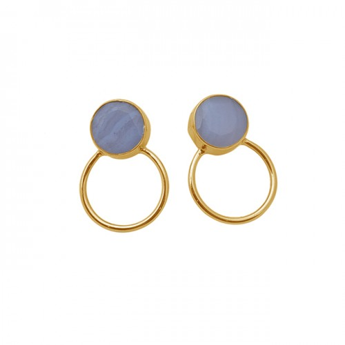 Round Shape Blue Lace Agate Gemstone 925 Sterling Silver Gold Plated Earrings