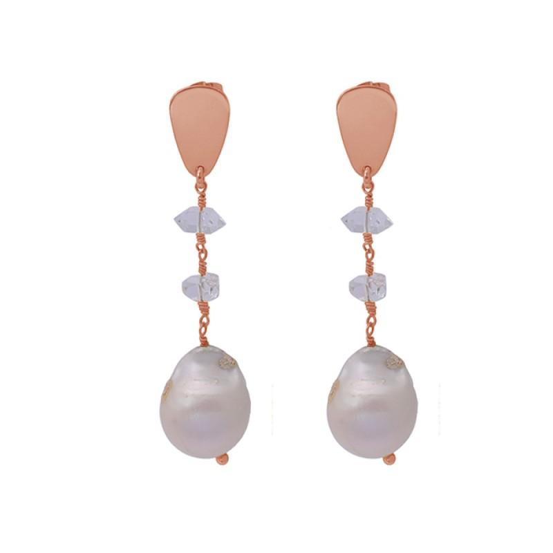 Pearl Herkimer Diamond Gemstone 925 Silver Gold Plated Designer Stud Earrings
