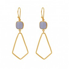 Cushion Shape Blue Lace Agate Gemstone 925 Silver Gold Plated Dangle Earrings