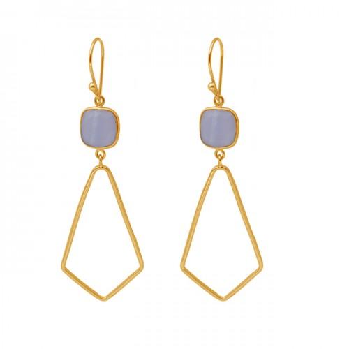Cushion Shape Blue Lace Agate Gemstone 925 Silver Gold Plated Dangle Earrings