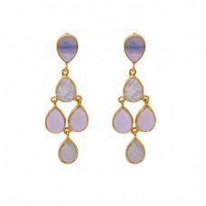Pear Shape Rainbow Moonstone Lavendor Moon Quartz 925 Silver Earrings