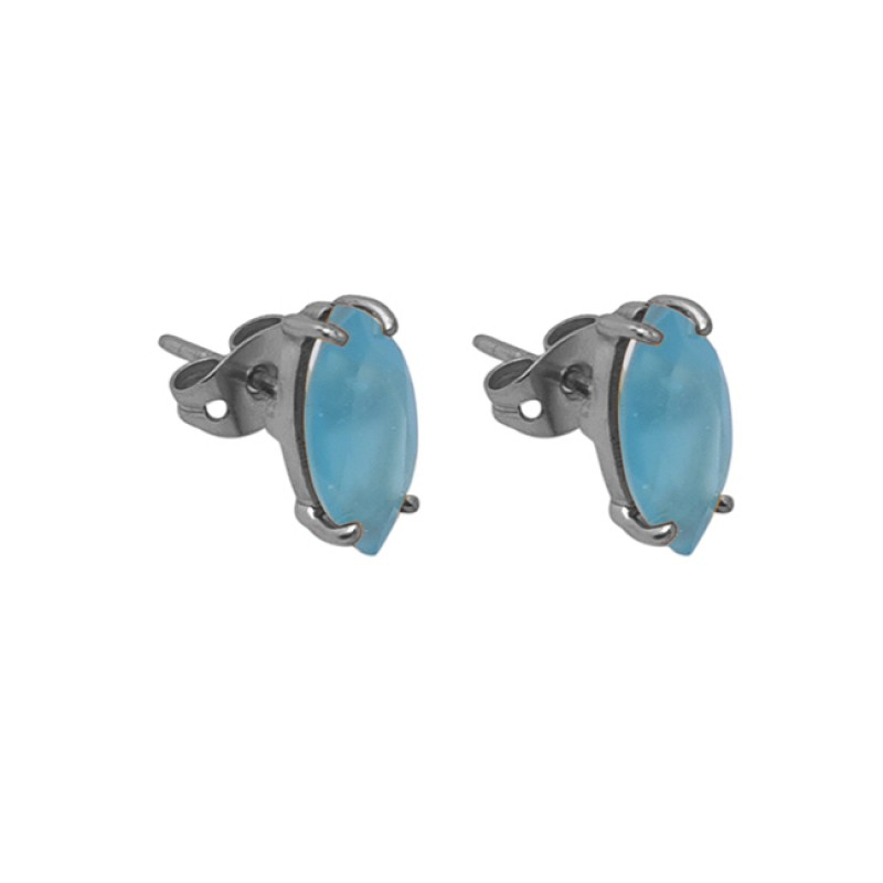 Marquise Shape Blue Chalcedony Gemstone 925 Silver Gold Plated Stud Earrrings