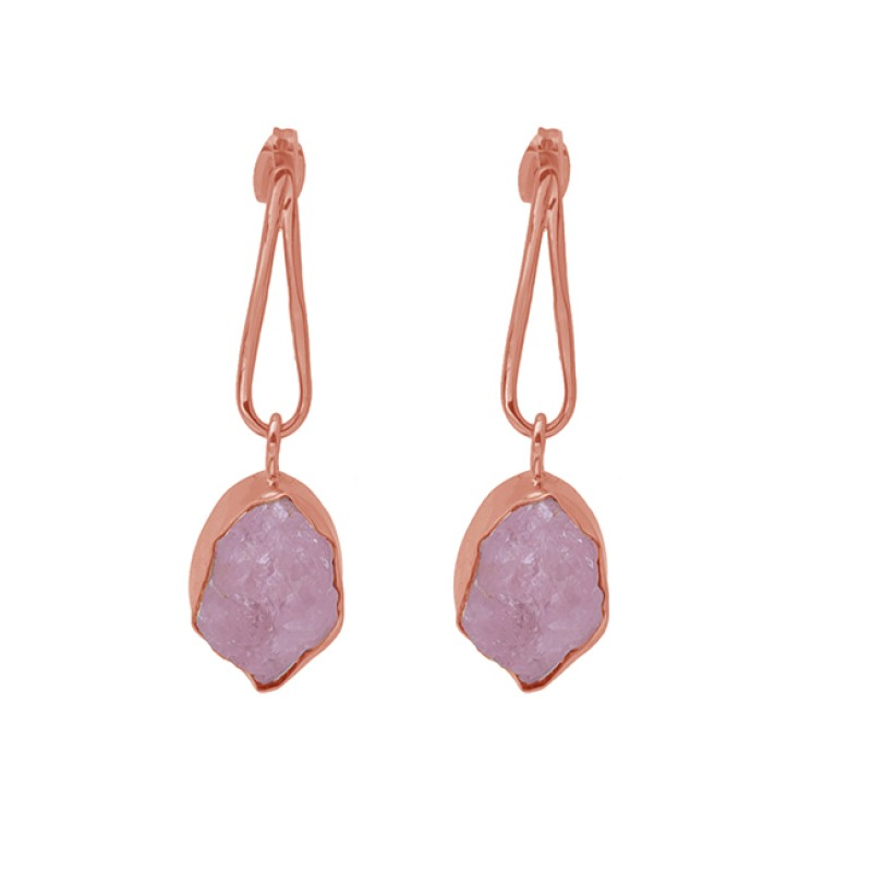 Rose Quartz Rough Gemstone 925 Sterling Silver Gold Plated Dangle Earrings