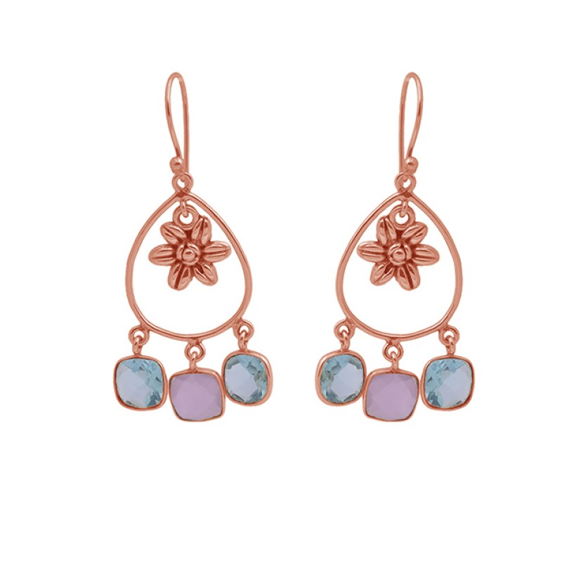 Cushion Shape Topaz Chalcedony Gemstone 925 Silver Gold Plated Earrings
