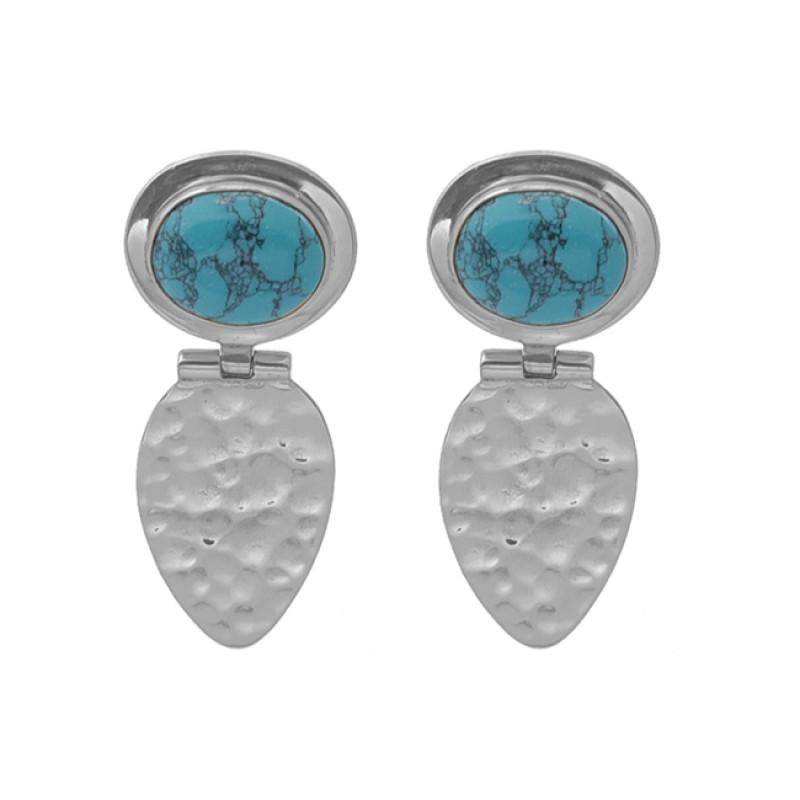 Oval Blue Copper Turquoise Gemstone 925 Silver Jewelry Earrings