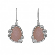 925 Silver Jewelry Peach Moonstone Gold Plated Dangle Earrings