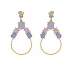 Prong Setting Gemstone 925 Sterling Silver Jewelry Dangle Earrings