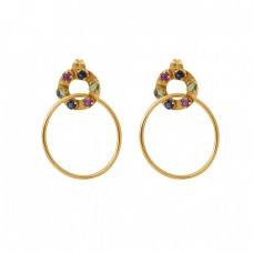 Round Shape Gemstone 925 Silver Jewelry Gold Plated Stud Dangle Earrings