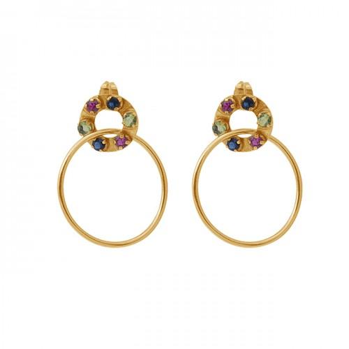 Round Shape Gemstone 925 Silver Jewelry Gold Plated Stud Dangle Earrings