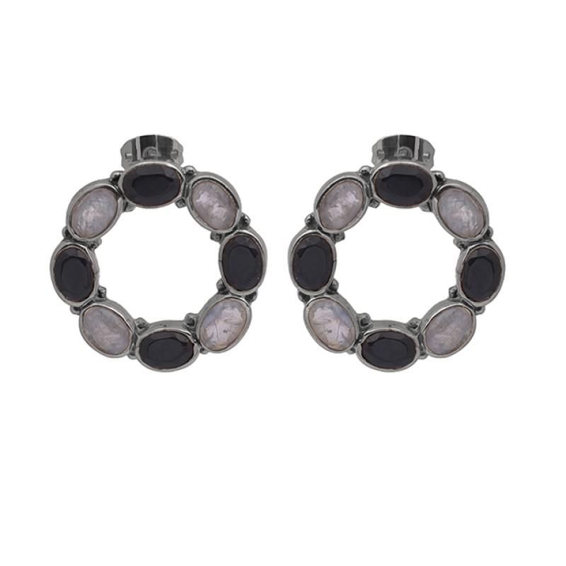 Oval Shape Onyx Moonstone 925 Sterling Silver Jewelry Stud Earrings