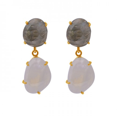 Labradorite Moonstone Prong Set 925 Silver Jewelry Gold Plated Dangle Earrings