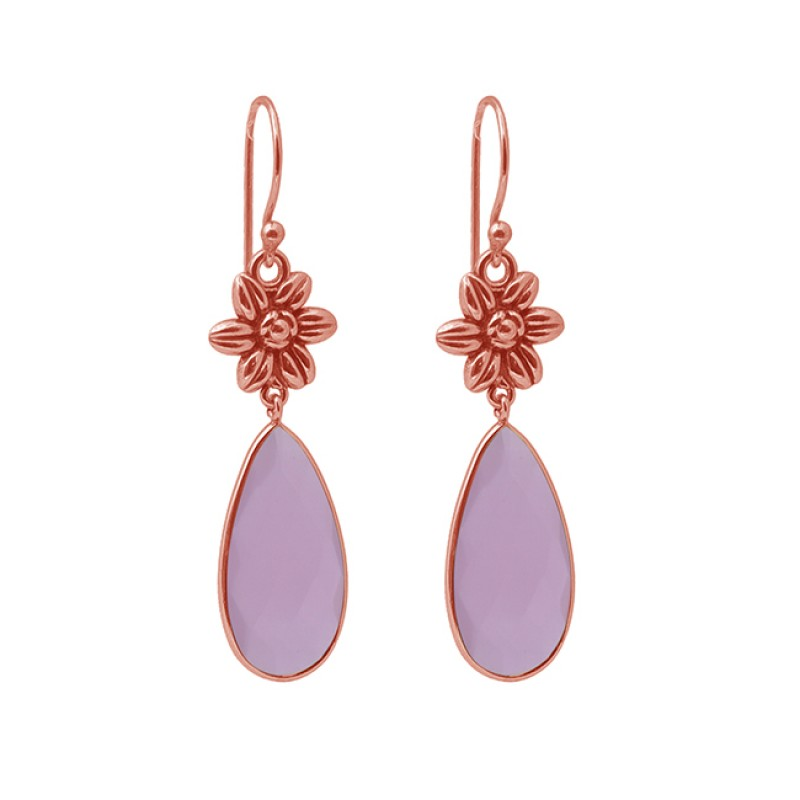 Pear Shape Rose Chalcedony Gemstone 925 Silver Jewelry Dangle Earrings
