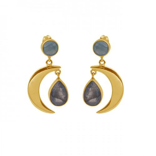 Labradorite Chalcedony Gemstone Gold Plated 925 Silver Jewelry Earrings