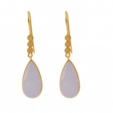 Pear Rainbow Moonstone 925 Silver Jewelry Gold Plated Dangle Earrings