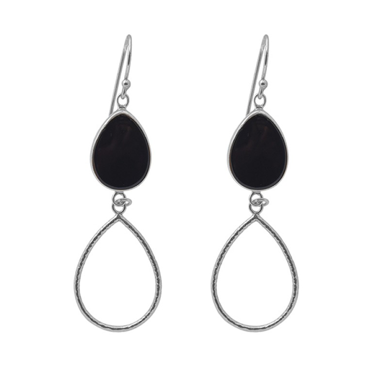 Pear Black Onyx Gemstone 925 Silver Jewelry Gold Plated Dangle Earrings