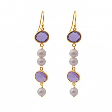 Amethyst Pearl Gemstone 925 Sterling Silver Jewelry Gold Plated Earrings