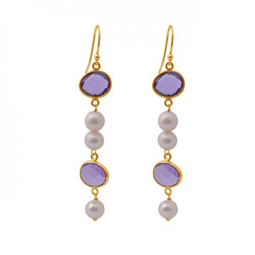 Amethyst Pearl Gemstone 925 Sterling Silver Jewelry Gold Plated Earrings