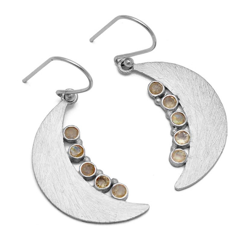 Moon Shape Design Labradorite Round Gemstone 925 Sterling Silver Gold Plated Earrings
