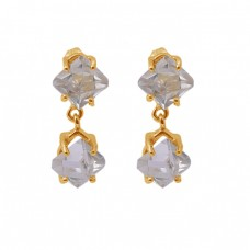 Herkimer Diamond Gemstone 925 Silver Jewelry Gold Plated Stud Earrings