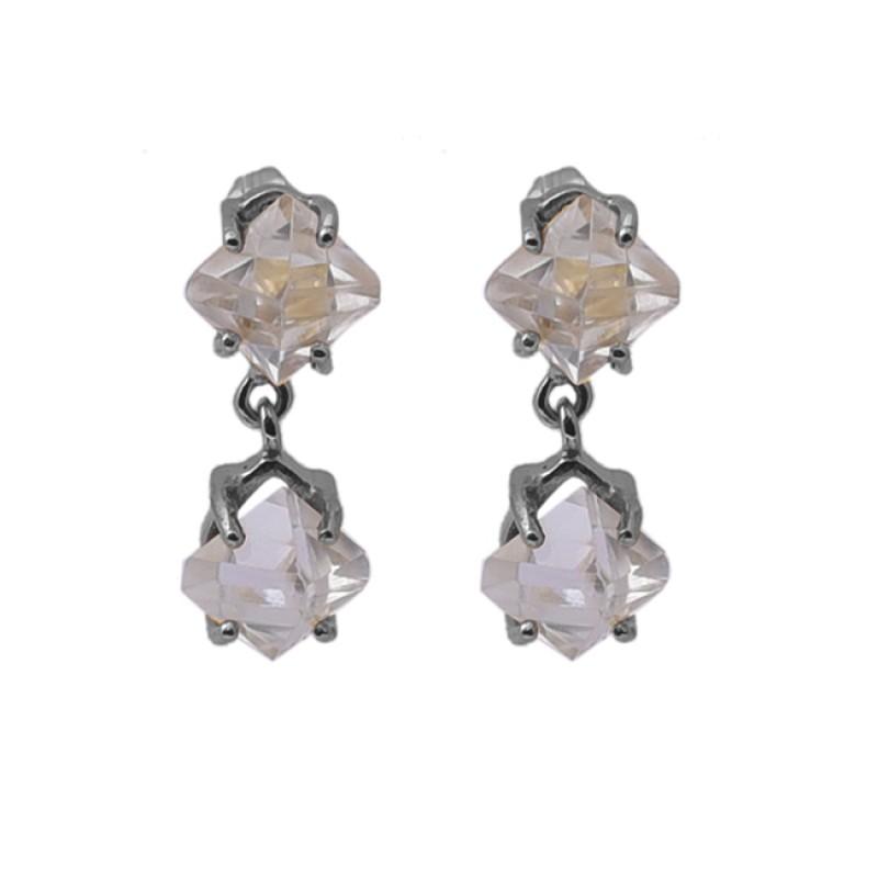 Herkimer Diamond Gemstone 925 Silver Jewelry Gold Plated Stud Earrings