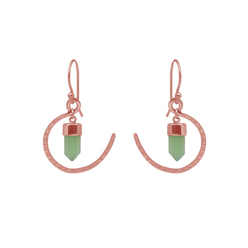Pencil Shape Chalcedony Gemstone 925 Silver Jewelry Gold Plated Earrings