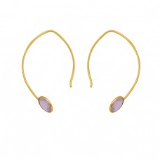 Round Shape Rose Quartz Gemstone 925 Silver Jewelry Gold Plated Hoop Earrings