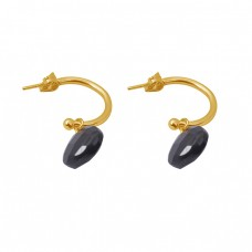 Heart Shape Black Onyx Gemstone 925 Silver Jewelry Gold Plated Earrings