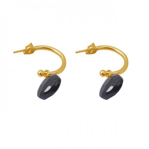 Heart Shape Black Onyx Gemstone 925 Silver Jewelry Gold Plated Earrings