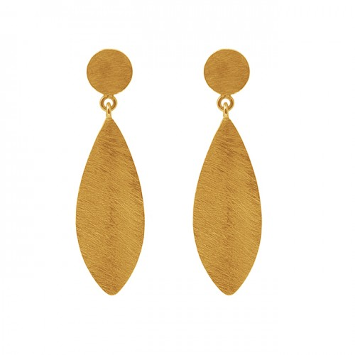 925 Sterling Silver Jewelry Plain Handmade Designer Gold Plated Stud Earrings
