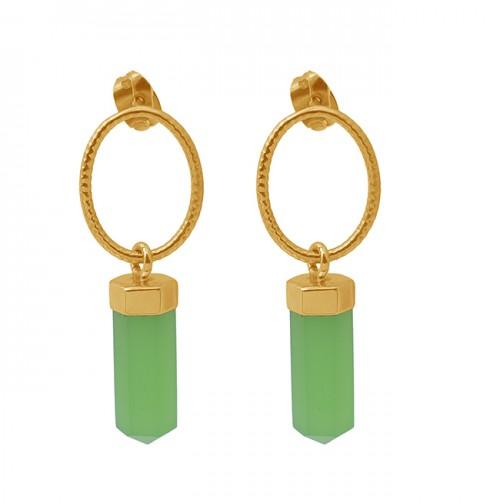 Pencil Shape Chalcedony Gemstone 925 Silver Jewelry Stud Dangle Earrings