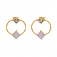 925 Sterling Silver Jewelry Gemstone Gold Plated Stud Wholesale Earrings
