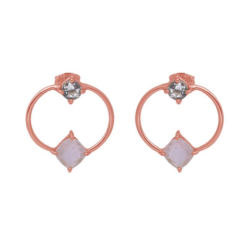 925 Sterling Silver Jewelry Gemstone Gold Plated Stud Wholesale Earrings