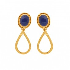 Oval Shape Lapis Lazuli Gemstone 925 Silver Jewelry Gold Plated Earrings